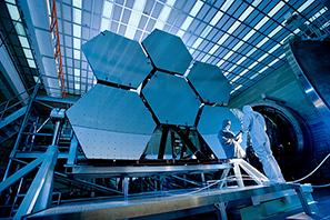 Image of scientists working on solar panels in a laboratory